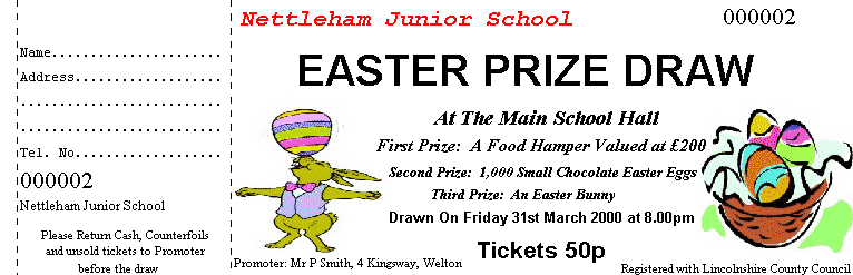Sample ticket: Easter prize draw